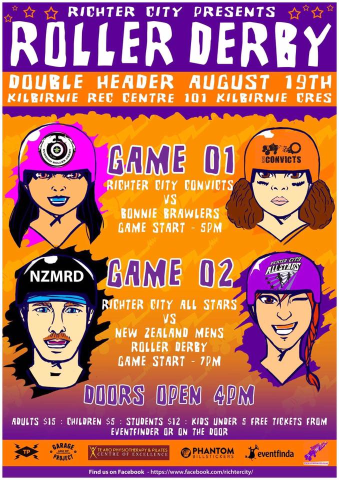 Saturday 19 August – Richter City Roller Derby 2017 Season – Double Header